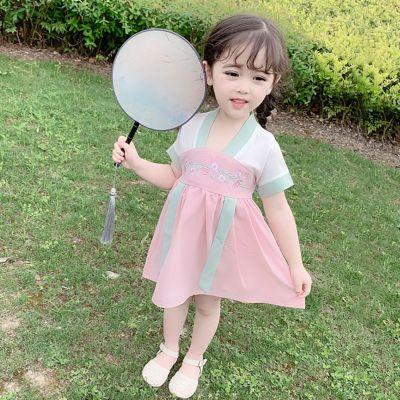漠悠洛女童漢服連衣裙女寶寶復古洋氣古裝中國風唐裝小童裝女孩夏裝裙子