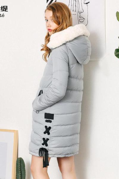 拉夏貝爾 拉貝緹羽絨服女中長款外套女冬款韓版時尚顯瘦羽絨服繭型60005595