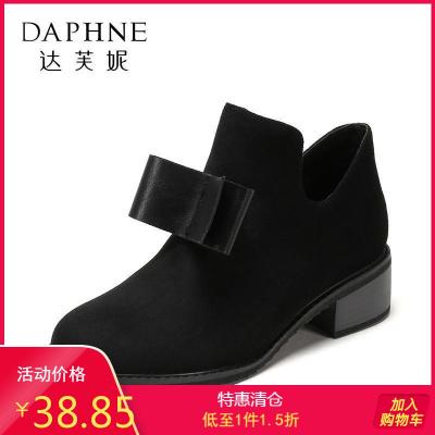 SHOEBOX/鞋柜冬新款圓頭短筒中跟甜美蝴蝶結氣質短靴1717505068