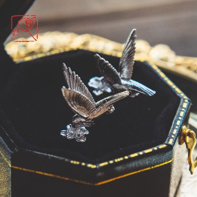 花語詩月{蜂鳥}925銀 可愛小巧寫實蜂鳥耳釘一對 個性動物銀飾小鳥耳飾