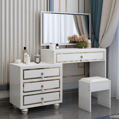 北欧简约白色轻奢梳妆台卧室伸缩化妆柜小户型收纳网红ins化妆台