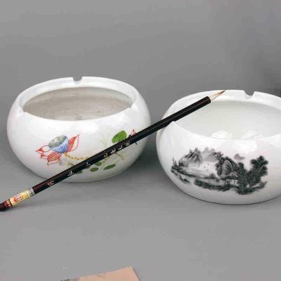 荷花文房毛笔笔洗书画用品 陶瓷笔洗水碗 多功能开口修笔锋