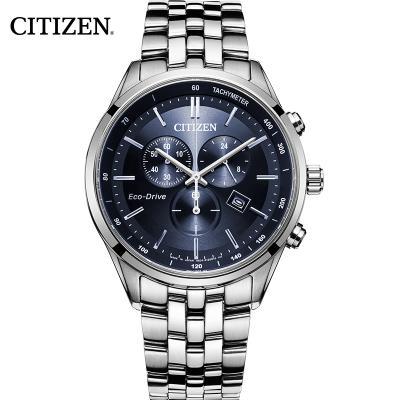 西鐵城(CITIZEN)手表男光動能深邃大藍盤三眼計時鋼表帶商務休閑 夜光藍寶石鏡面石英AT2140-55L