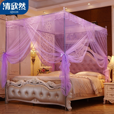 清欣然(QinGXR)家紡 宮廷風不銹鋼落地蚊帳1.5米1.8m床雙人家用1.2加密三開門加粗支架宮廷蚊帳