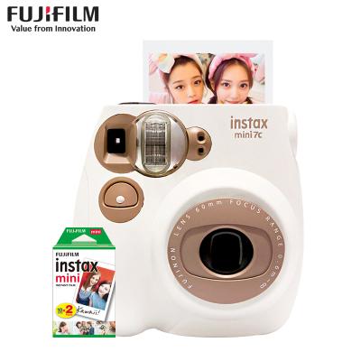 富士(FUJIFILM)INSTAX拍立得 膠片相機 一次成像 mini7C 富士小尺寸 奶咖棕色套裝 含20張白邊相紙