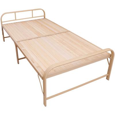 悦含加固折叠床双人1.2实木床便携简易床木板床午睡床单人床午休床铁架钢木床