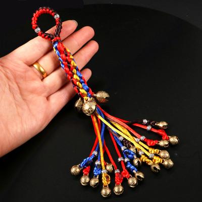 手作轉經輪虎頭鈴鐺平安福符鑰匙扣中國結鑰匙鏈包掛件門鈴流蘇繩