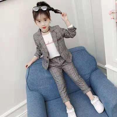 女童西服套裝2020春裝韓版兒童中大童洋氣小女孩格子西裝兩件套臻依緣