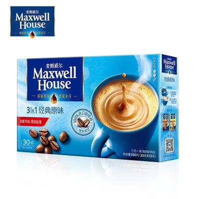 麦斯威尔咖啡经典原味速溶三合一咖啡粉30条390g盒装