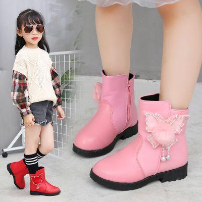 女童鞋靴子2019新款秋冬季加绒短靴儿童加厚保暖小孩二棉鞋大宝宝刘家琦