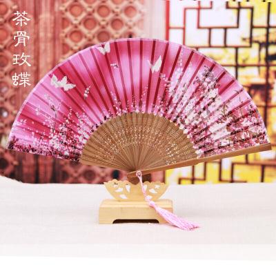 扇子折扇中国风女式复古夏季古典古风古代舞蹈折叠扇丝绸折扇子