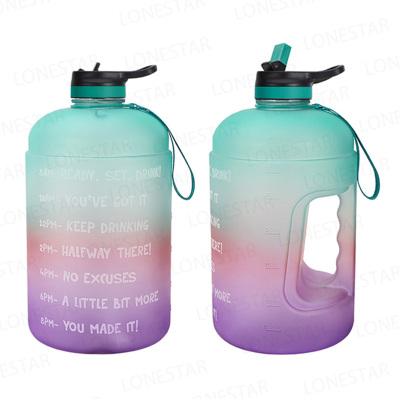 運動水壺戶外尖峰創意漸變PETG塑料大水壺1加侖3.78L水壺便攜運動水桶HU WAI JIAN FENG