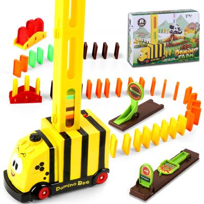 木制多米諾骨牌電動小火車抖音網紅同款3-6歲男女孩兒童玩具 小蜜蜂*骨牌100粒