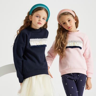 【1件3折价:60】米喜迪mecity童装19冬新款女童卫衣撞色仿皮儿童卫衣洋气