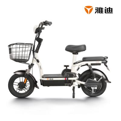 雅迪電動車2020新款鉛酸小金果48V電瓶車踏板代步電動自行車 小金果新塔夫綢白