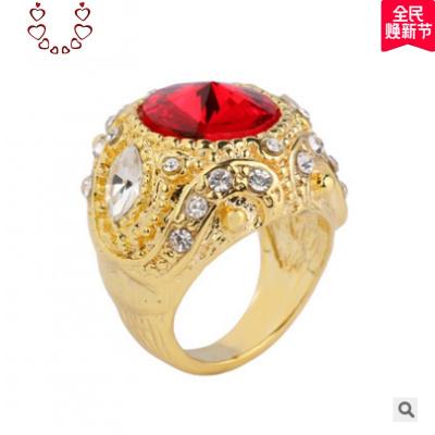 歐美復古花鑲鉆寶石男士扳指潮流戒指女士瑪瑙時尚大海星情侶戒 Chunmi