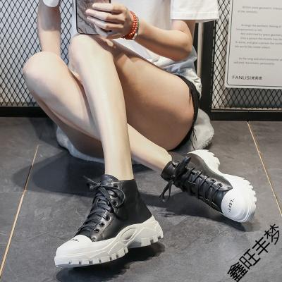 富悅美歐洲站2020春季新款真皮黑色高幫鞋增高松糕鞋女厚底休閑運動鞋潮
