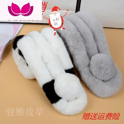 新款獺兔毛三管圍巾女冬季加厚韓版時尚毛絨脖套仿皮保暖圍脖潮