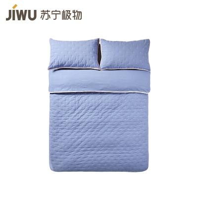 蘇寧極物 床上用品全棉斜紋撞色絎縫多功能被套件三件套