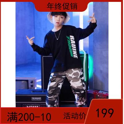 新款男童街舞服装男孩hiphop衣服潮秋季宽松长袖卫衣儿童嘻哈套装