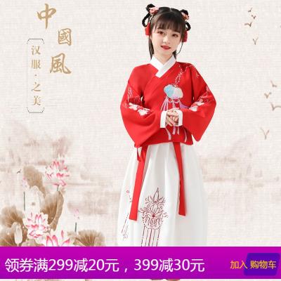 汉服女童原创如意锁儿童古装12-15岁中国风唐装袄裙秋冬季演出服