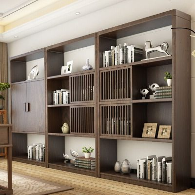 航竹坊 新中式實木書架組合禪意書柜簡約展示柜置物架現代中式儲物博古架