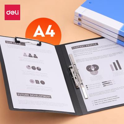 得力deliA4文件夾強力雙夾單夾板夾長押夾多規格可選辦公學生文件整理單個裝
