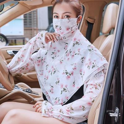 掛耳面紗女遮臉開車防曬紫外線神器冰袖兩件套學車護頸薄款印花夏 白底牡丹