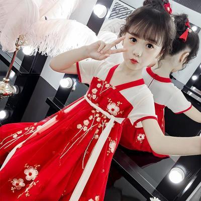 漠悠洛兒童漢服女童古裝超仙夏季連衣裙櫻花公主短袖襦裙中國風洋氣唐裝