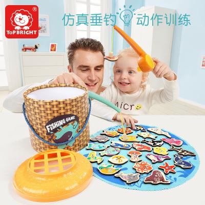 特寶兒(Topbright) 仿真垂釣游戲雙人版 寶寶釣魚木制玩具磁性 2周歲以上兒童益智玩具男孩女孩啟蒙120360