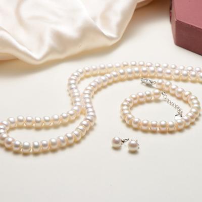 【京润珍珠】想念 7-8mm/8-9mm扁圆白色淡水珍珠项链手链耳钉三件套 珠宝宠自己送妈妈