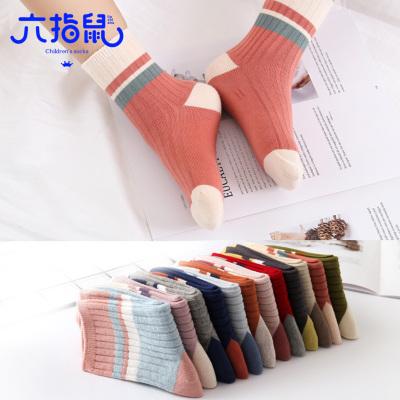 六指鼠儿童袜子秋冬款学生撞色条纹纯棉男女童袜中大童宝宝中筒袜