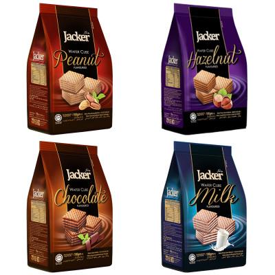 马来西亚进口 jacker杰克牌牛奶味巧克力味方形威化饼干100g*4袋 零食