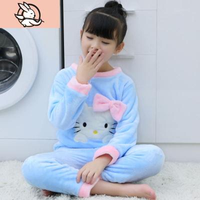 冬季法蘭絨兒童睡衣男女童珊瑚絨加厚保暖家居服寶寶休閑睡衣套裝 花漾兔