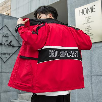 蒙洛里克 2020春季新款潮牌寬松立領春裝插色撞色字母刺繡時尚工裝夾克外套DS595