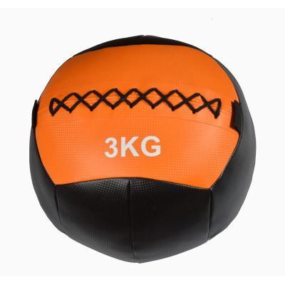 瑜伽健身药球重力球软pu墙球壁球非弹力实心球平衡核心力量训练球[定制] 纯黑色高档防滑Pu皮10kg