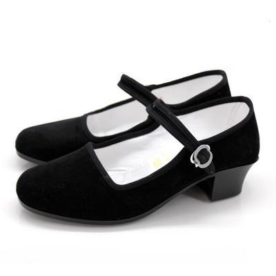 舞蹈跟鞋女民间舞胶州秧歌鞋藏族舞布鞋广场秧歌民族舞蹈考级黑跟 低跟黑色 34