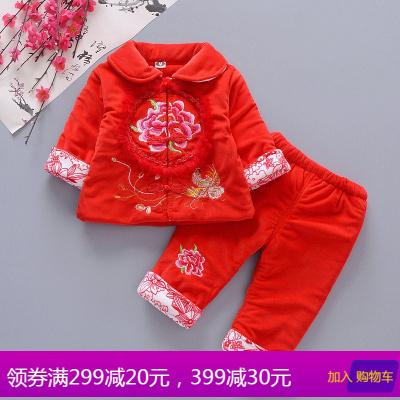 儿童红色女宝宝唐装冬婴儿百天周岁过年礼服女童加棉喜庆新年装潮