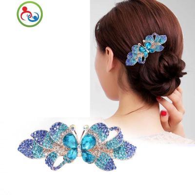 韓國 發夾媽媽 發卡彈簧夾 氣質優雅中年大人女士后腦勺盤發 JING PING水晶頭飾