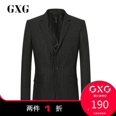 【兩件1折:190】GXG男裝 冬季商場同款黑底白條西服#174113101(上裝)