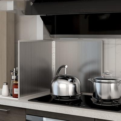 厨房不锈钢挡油板隔油挡板非铝箔防油挡板灶台防油溅挡板定制 高70长90深50四片折