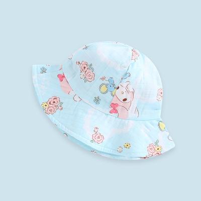 wua.wua寶寶春夏季外出防曬遮陽帽純棉雙層紗布洋氣卡通帽子