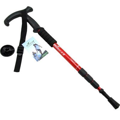 尚龙 户外登山杖 四节T型伸缩内锁手杖 休闲徒步健走杖 超轻铝合金带减震