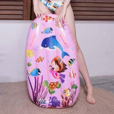 【精品好貨】浮板充氣沖浪板兒童浮排水上戲水玩具坐騎浮床學游泳泳圈水上坐騎 粉色海底世界浮排 送打氣筒