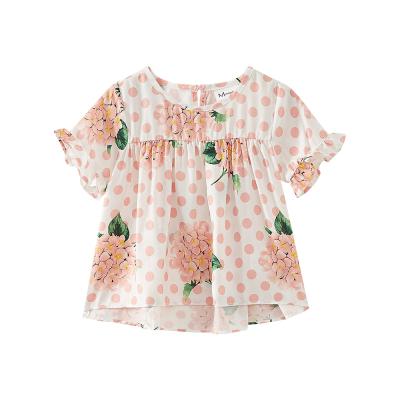 【1件5折:39.5】moomoo童裝女童上裝夏季新款中大童不對稱式印花雪紡短袖上衣