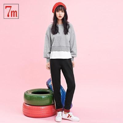 新品7M假两件卫衣秋冬新款韩版棉拼接上衣韩版运动长袖打底衫T恤女70009173