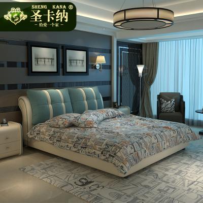 圣卡納 床布藝床北歐皮布床可拆洗簡約現代雙人木質布藝床小戶型現代簡約主臥軟床布床婚床榻榻米皮質床606#