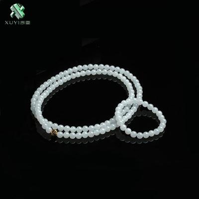 序壹(XUYI)翡翠项链女冰种玉石手链手串套装珠子圆珠长款毛衣链时尚款玉珠链