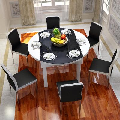 中派 餐桌 餐廳家具套裝實木伸縮帶電磁爐功能餐桌椅組合廚房簡約現代