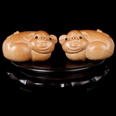 2020年雙豬承運生肖屬豬人本命年開運吉祥物福祿佑豬桃木雕刻擺件